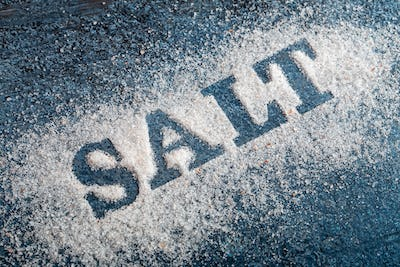 Word salt over grunge background