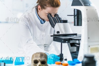 Ancient DNA Analysis. Portrait of a Female Archaeologist with Microscope