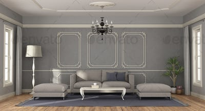 Modern gray sofa and footstool in a room in classic style - 3d rendering
