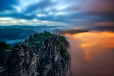 Bastei bridge night view, Saxon Switzerland, Germany