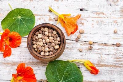 Seeds,and flowers of nasturtium