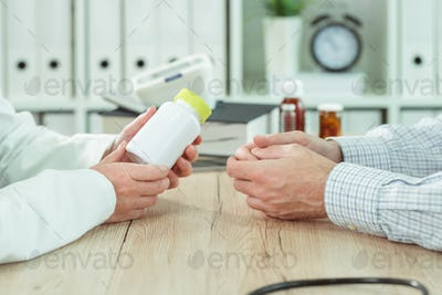 Doctor and patient considering nutritional supplement therapy