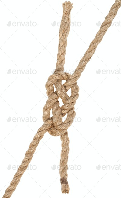 carrick bend knot joining two ropes isolated