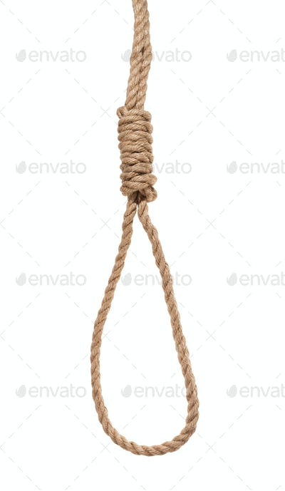 hangman's noose from thick jute rope isolated