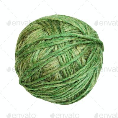 skein of green melange yarn isolated on white