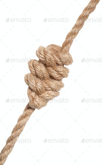 multiple figure-eight knot tied on thick jute rope