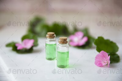 Small Bottles with Plant Extract