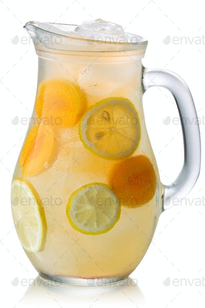 Iced apricot lemonade pitcher isolated, paths