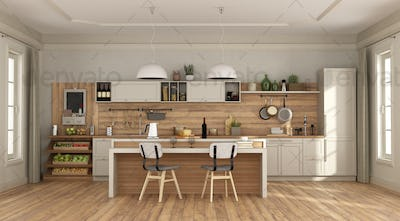 Claasic room with white kitchen with island - 3d rendering