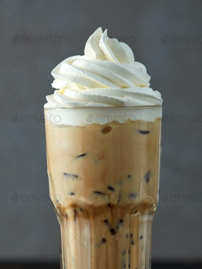 iced coffee latte with whipped cream