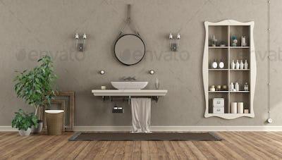 Bathroom with washbasin on shelf in classic style