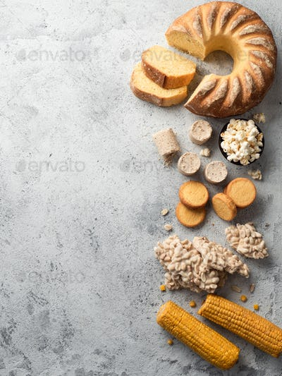 Festa Junina sweet food concept.Copyspace,top view