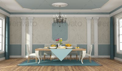 Classic dininig room with elegant table set and chairs