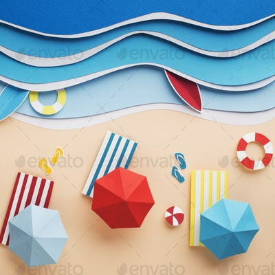 Summer resort on the beach with waves for serfing