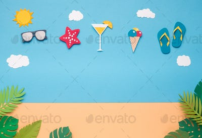 Creative wallpaper with party beach accessories in the sky