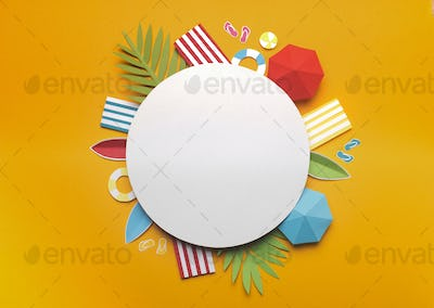 Composition of beach accessories on yellow background