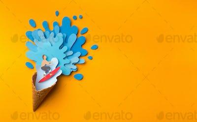 Summer ice cream with blue sea vawes inside