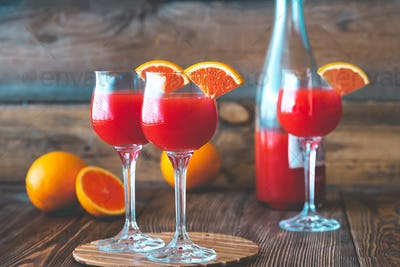 Three glasses of Mimosa cocktail
