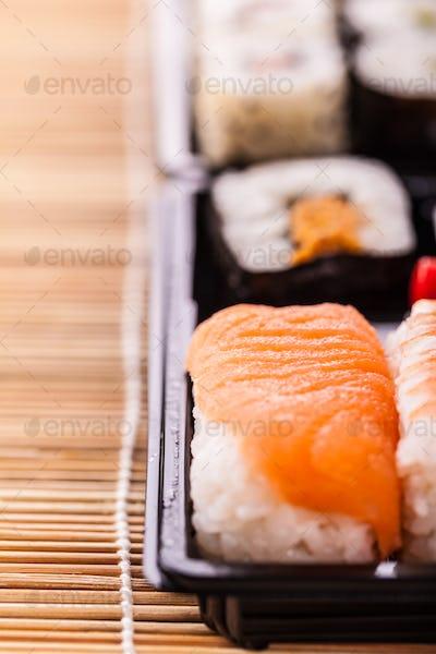 sushi box closeup