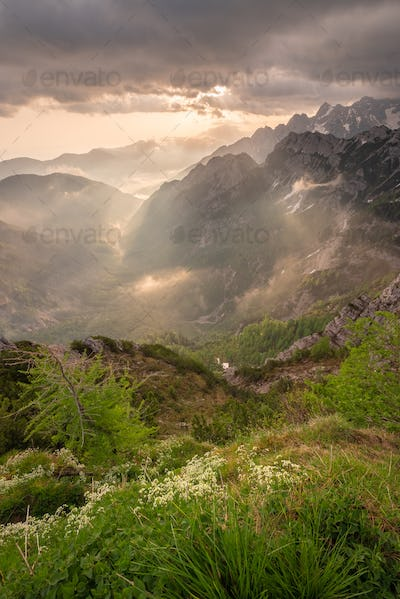 Mystic sunrise in the mountains of Julian Alps