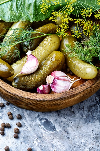 Plate with pickled cucumbers