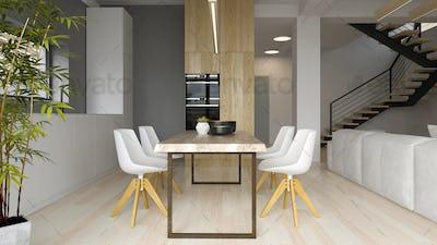 Interior of modern dining room 3D rendering