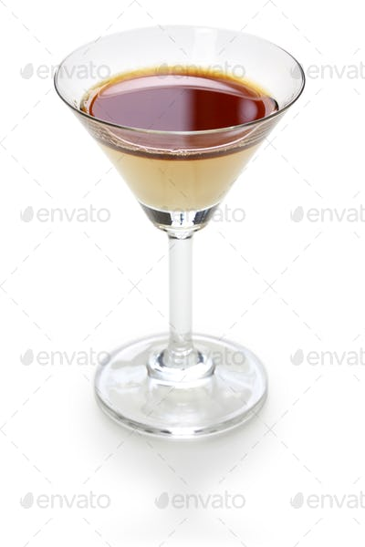black and white, two color layered cocktail, homemade coffee liqueur and evaporated milk, alfonso13