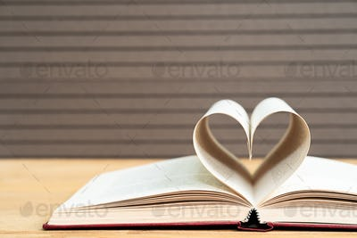 Pages of book curved heart shape_-5