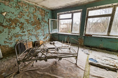 Pripyat, Chernobyl exclusion zone. The interior of the ward in a hospital in an abandoned city.