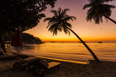 Beach chairs on the shore of a tropical island. Koh Chang. Thail