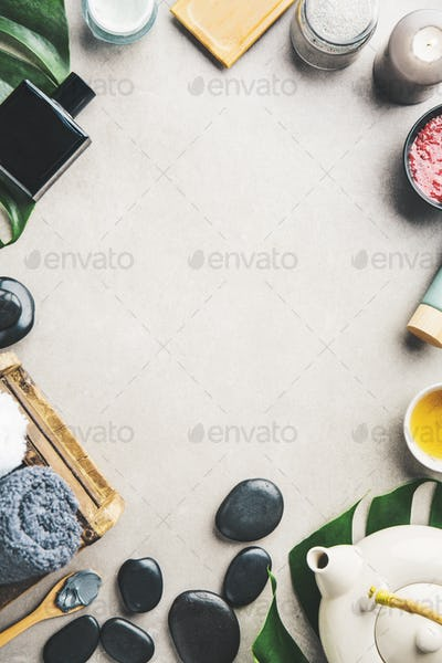 Spa accessories on grey background