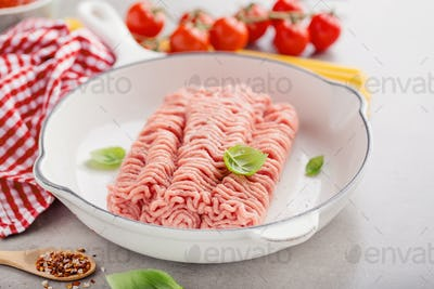 Fresh minced meat with spices on table