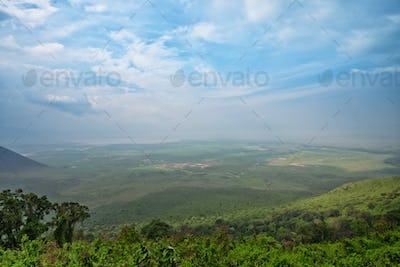 View from rim of Ngorongoro crater