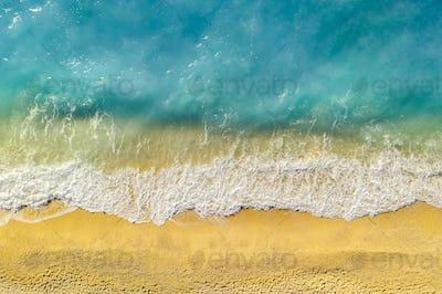Beautiful beach in Kefalonia, Ionian Islands, Greece. Aerial view.