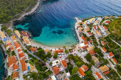 Sunset view of Asos village on the west coast of Kefalonia, Greece, Europe.