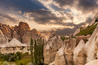 Love valley in Goreme village, Stone houses in Goreme, Cappadocia.