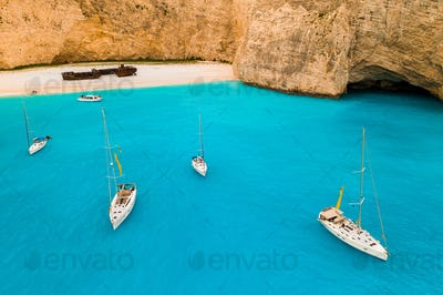 Navagio bay and Ship Wreck beach in summer. Zakynthos, Greece