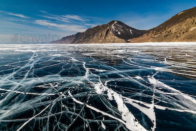 Ice patterns on Lake Baikal. Siberia, Russia