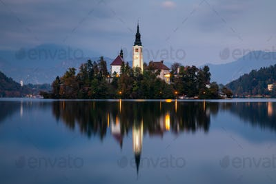 Autumn view on Bled Lake, Bled, Slovenia, Europe.
