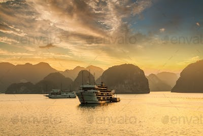 Sunset over the islands of Halong Bay in northern Vietnam.