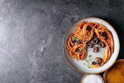Classic Italian Spaghetti anchovy pasta