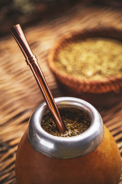 Close up of yerba mate tea