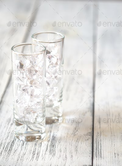 Shot glasses with crushed ice