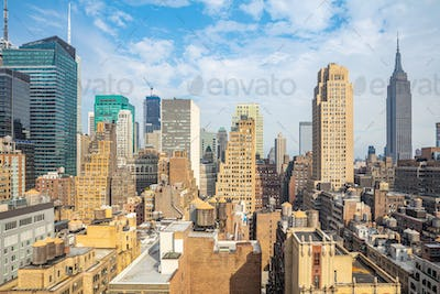 Aerial view of Manhattan skyscrapers, New York city, sunny spring day