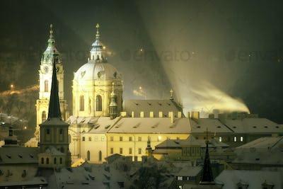 Tower of St. Nicolas church during winter, Prague, Czech republi