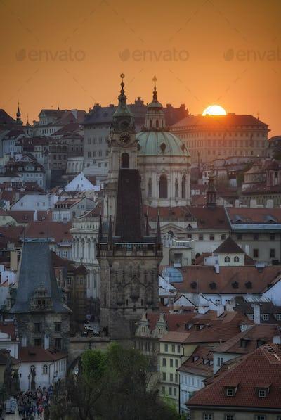Tower of St. Nicolas church, Prague, Czech republic
