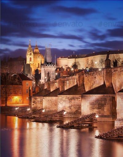 Charles bridge and St. Vitus cathedral, Prague, Czech republic