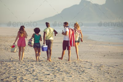 Rear view of group of diverse friends walking together on the beach