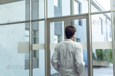 Rear view of Caucasian male doctor with hands in pocket looking through window in hospital