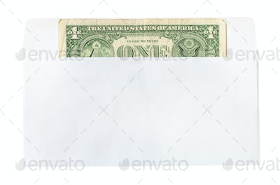 one united states one-dollar bill in mail envelope